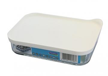 GLASSLOCK (MCRB-113F, 1050ml, Rechteckige Vorratsdose aus Glas - Freezer Typ (Weiß) - 1