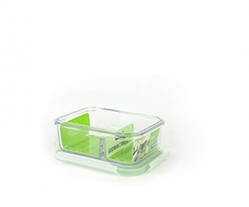 GLASSLOCK (MCRK-067, 670ml Rechteckige Vorratsdose aus temperiertem Glas - Mikrowelle Duo Typ - 2