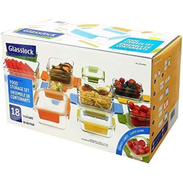 Glasslock Premium Lebensmittel Aufbewahrung Glas Dosen Boxen 18teiliges Set sortiert mit Deckel, mehrfarbig und ofenfest - 1
