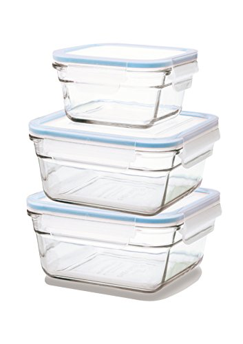 GLASSLOCK Viereckige Frischhaltedosen, Ofen Set, Glas, Blau/Transparent 16 x 16 x 16 cm - 2