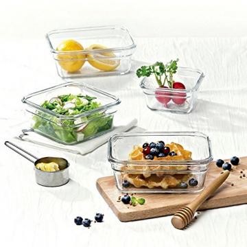 GLASSLOCK Viereckige Frischhaltedosen, Ofen Set, Glas, Blau/Transparent 16 x 16 x 16 cm - 4