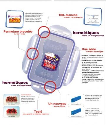 LOCK & LOCK Frischhaltebehälter aus Glas, rund mit flachem Deckel, 870 ml, von Lock & Lock - LLG855 - 2