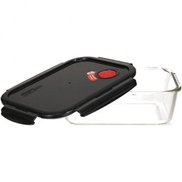 LOCK & LOCK Frischhaltedose aus Glas mikrowellengeeignet - Oven Glass - Auflaufform eckig mit Deckel für Backofen, Mikrowelle & Zum Einfrieren, 2 Liter - 3