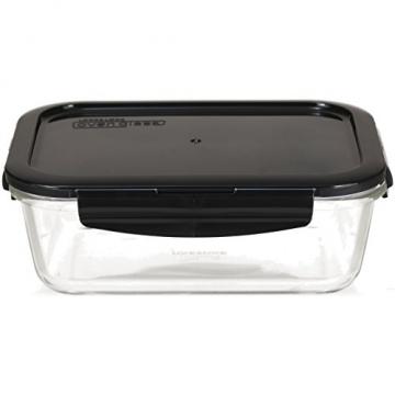 LOCK & LOCK Frischhaltedosen aus Glas mit Deckel, 3er Set eckig & klein- OVEN GLASS - Kühlschrank & Einfrieren - Auflaufform Backofen & Mikrowelle - 4
