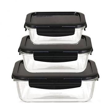LOCK & LOCK Frischhaltedosen aus Glas mit Deckel, 3er Set eckig & klein- OVEN GLASS - Kühlschrank & Einfrieren - Auflaufform Backofen & Mikrowelle - 1