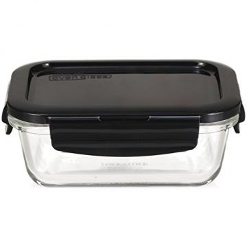 LOCK & LOCK Frischhaltedosen aus Glas mit Deckel, 3er Set eckig & klein- OVEN GLASS - Kühlschrank & Einfrieren - Auflaufform Backofen & Mikrowelle - 5