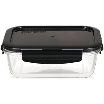 LOCK & LOCK Frischhaltedosen aus Glas mit Deckel, 3er Set eckig & klein- OVEN GLASS - Kühlschrank & Einfrieren - Auflaufform Backofen & Mikrowelle - 6