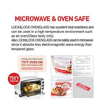 Lock & Lock LLG861T Ovenglas für Mikrowelle und Ofen, Glas, tranparent 15 x 15 x 7 cm - 7