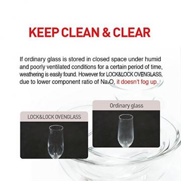 LOCK & LOCK Ovenglass Euroglas Vorratsdose, 0.5 L, Glas, transparent, 14 x 14 x 6,7 cm - 9
