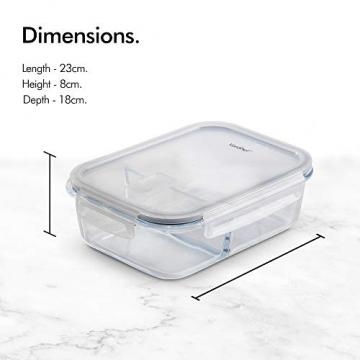 VonShef 3-er Set Glas-Frischhaltedosen mit Deckel – 2 Kammern – Lebensmittelbehälter aus Glas - 2