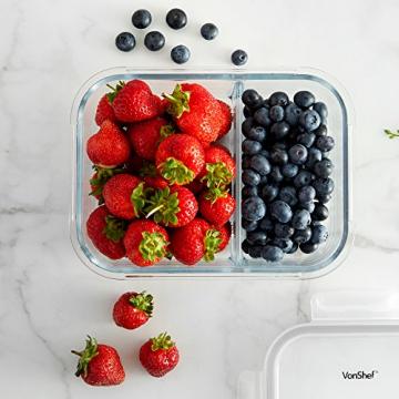 VonShef 3-er Set Glas-Frischhaltedosen mit Deckel – 2 Kammern – Lebensmittelbehälter aus Glas - 3
