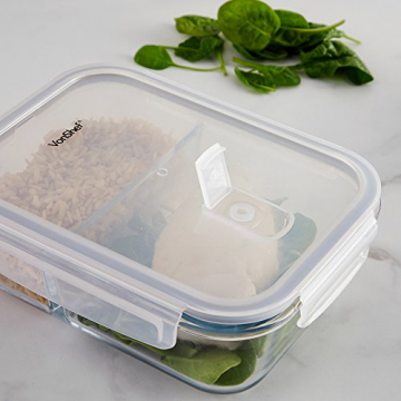 VonShef 3-er Set Glas-Frischhaltedosen mit Deckel – 2 Kammern – Lebensmittelbehälter aus Glas - 4