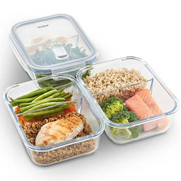 VonShef 3-er Set Glas-Frischhaltedosen mit Deckel – 2 Kammern – Lebensmittelbehälter aus Glas - 1