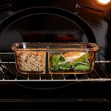 VonShef 3-er Set Glas-Frischhaltedosen mit Deckel – 2 Kammern – Lebensmittelbehälter aus Glas - 5