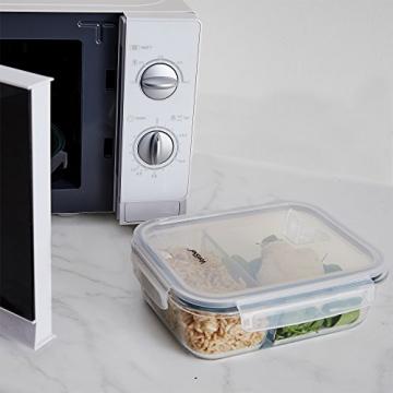 VonShef 3-er Set Glas-Frischhaltedosen mit Deckel – 2 Kammern – Lebensmittelbehälter aus Glas - 6