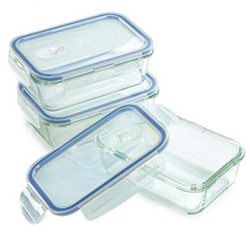 1790 Glas-BEHÄLTER 800 ML, Clip en Seal Deckel, BPA frei, Lecksicher, Für Aufwärmen, Frischhalten, Überbacken, Einfrieren und Servieren, abschließbare Dampfventil. (3Stück) - 5