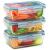 1790 Glas-BEHÄLTER 800 ML, Clip en Seal Deckel, BPA frei, Lecksicher, Für Aufwärmen, Frischhalten, Überbacken, Einfrieren und Servieren, abschließbare Dampfventil. (3Stück) - 1