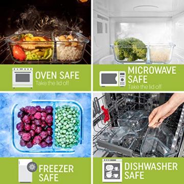 2-er Set Frischhaltedosen Glas Aufbewahrungsbox Auslaufsicher Lunchbox, 2 Luftdichte Fächer, Größe XL 1040 mL - Brotzeitdose Bento Box aus Glas BPA-frei - Meal-Prep-Box, Vorratsbehälter, Gefrierdosen - 2