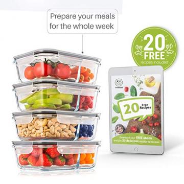 2-er Set Frischhaltedosen Glas Aufbewahrungsbox Auslaufsicher Lunchbox, 2 Luftdichte Fächer, Größe XL 1040 mL - Brotzeitdose Bento Box aus Glas BPA-frei - Meal-Prep-Box, Vorratsbehälter, Gefrierdosen - 3