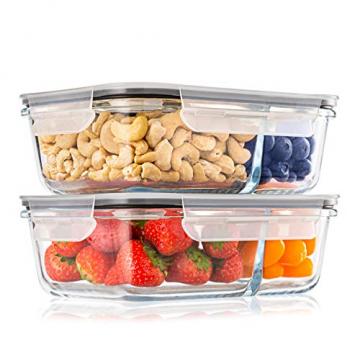 2-er Set Frischhaltedosen Glas Aufbewahrungsbox Auslaufsicher Lunchbox, 2 Luftdichte Fächer, Größe XL 1040 mL - Brotzeitdose Bento Box aus Glas BPA-frei - Meal-Prep-Box, Vorratsbehälter, Gefrierdosen - 1