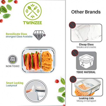 2-er Set Frischhaltedosen Glas Aufbewahrungsbox Auslaufsicher Lunchbox, 2 Luftdichte Fächer, Größe XL 1040 mL - Brotzeitdose Bento Box aus Glas BPA-frei - Meal-Prep-Box, Vorratsbehälter, Gefrierdosen - 6