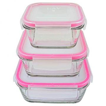 3 STÜCK Frischhaltedose aus Glas | glas Aufbewahrungsbox mit Deckel | 3 Größen Glasschüssel mit Deckel | Vorratsdosen Set luftdicht und auslaufsicher | Aufbewahrungsboxen mit Deckel zum Einfrieren - 2