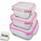 3 STÜCK Frischhaltedose aus Glas   glas Aufbewahrungsbox mit Deckel   3 Größen Glasschüssel mit Deckel   Vorratsdosen Set luftdicht und auslaufsicher   Aufbewahrungsboxen mit Deckel zum Einfrieren - 1