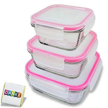 3 STÜCK Frischhaltedose aus Glas | glas Aufbewahrungsbox mit Deckel | 3 Größen Glasschüssel mit Deckel | Vorratsdosen Set luftdicht und auslaufsicher | Aufbewahrungsboxen mit Deckel zum Einfrieren - 1