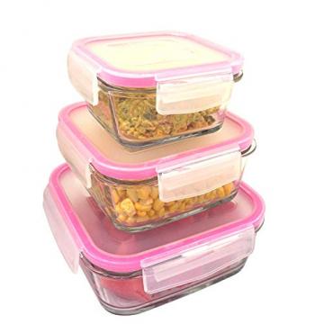 3 STÜCK Frischhaltedose aus Glas | glas Aufbewahrungsbox mit Deckel | 3 Größen Glasschüssel mit Deckel | Vorratsdosen Set luftdicht und auslaufsicher | Aufbewahrungsboxen mit Deckel zum Einfrieren - 6