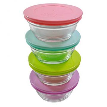 4 Stück LAV Master Glasbehälter mit Deckel + 4 Stück Schokolade als Dankeschön, Frischhaltedose Set, Glas Aufbewahrungsbehälter Schüssel Set mit Deckel, ideale Größe auch für Senioren - 4