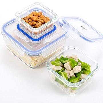 6er-Set Frischhaltedosen mit Deckel, Quadratische Lebensmittelbehälter aus Glas, BPA-Frei, Luftdicht - 2