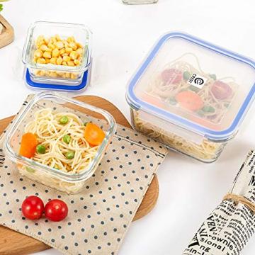 6er-Set Frischhaltedosen mit Deckel, Quadratische Lebensmittelbehälter aus Glas, BPA-Frei, Luftdicht - 3