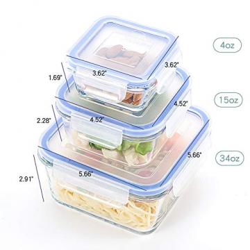 6er-Set Frischhaltedosen mit Deckel, Quadratische Lebensmittelbehälter aus Glas, BPA-Frei, Luftdicht - 4