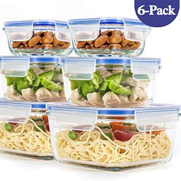 6er-Set Frischhaltedosen mit Deckel, Quadratische Lebensmittelbehälter aus Glas, BPA-Frei, Luftdicht - 1