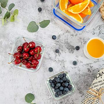 6er-Set Frischhaltedosen mit Deckel, Quadratische Lebensmittelbehälter aus Glas, BPA-Frei, Luftdicht - 5