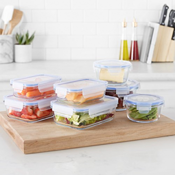 AmazonBasics - Frischhaltedosen aus Glas für Lebensmittel, mit Deckel, 14 -teiliges set (7 Behälter + 7 Deckel), BPA-freie - 4