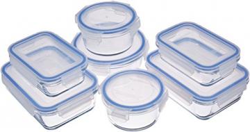 AmazonBasics - Frischhaltedosen aus Glas für Lebensmittel, mit Deckel, 14 -teiliges set (7 Behälter + 7 Deckel), BPA-freie - 1