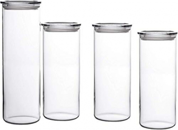 Bohemia Cristal 093 006 041 SIMAX Vorratsgläser aus hitzebeständigem Borosilikatglas, 4er Set (1 Stück : 1,8 L / 3 Stück : 1,4 L) mit Kunststoffdeckel klar - 1