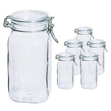 Bormioli Fido Gläser mit Bügelverschluss 6 teilig | Füllmenge 1,5 L | Luftdichte Konservierung durch den Gummiring sowie den Drahtbügelverschluss - 4