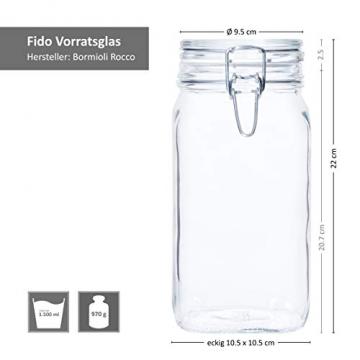 Bormioli Fido Gläser mit Bügelverschluss 6 teilig   Füllmenge 1,5 L   Luftdichte Konservierung durch den Gummiring sowie den Drahtbügelverschluss - 6