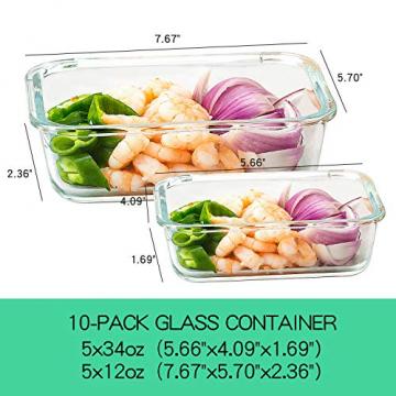 Crest 10er-Set Glas-Frischhaltedosen [fünf Farben pro Set] luftdicht, BPA-Frei, Vorratsdosen, Vesperbox Set, Geeignet für Mikrowelle, Gefrierschrank und Spülmaschine - 2