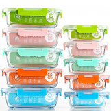Crest 10er-Set Glas-Frischhaltedosen [fünf Farben pro Set] luftdicht, BPA-Frei, Vorratsdosen, Vesperbox Set, Geeignet für Mikrowelle, Gefrierschrank und Spülmaschine - 1