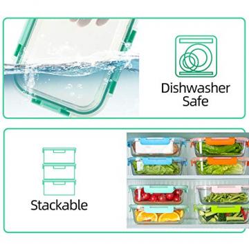 Crest 10er-Set Glas-Frischhaltedosen [fünf Farben pro Set] luftdicht, BPA-Frei, Vorratsdosen, Vesperbox Set, Geeignet für Mikrowelle, Gefrierschrank und Spülmaschine - 3