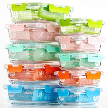Crest 10er-Set Glas-Frischhaltedosen [fünf Farben pro Set] luftdicht, BPA-Frei, Vorratsdosen, Vesperbox Set, Geeignet für Mikrowelle, Gefrierschrank und Spülmaschine - 5