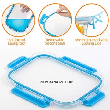 Crest 10er-Set Glas-Frischhaltedosen, luftdicht, BPA-Frei, Geeignet für Mikrowelle, Gefrierschrank und Spülmaschine - 2