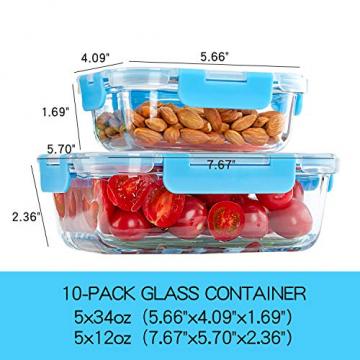 Crest 10er-Set Glas-Frischhaltedosen, luftdicht, BPA-Frei, Geeignet für Mikrowelle, Gefrierschrank und Spülmaschine - 3