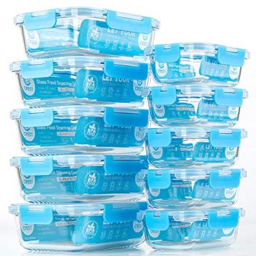 Crest 10er-Set Glas-Frischhaltedosen, luftdicht, BPA-Frei, Geeignet für Mikrowelle, Gefrierschrank und Spülmaschine - 1