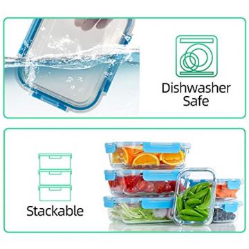Crest 10er-Set Glas-Frischhaltedosen, luftdicht, BPA-Frei, Geeignet für Mikrowelle, Gefrierschrank und Spülmaschine - 5