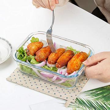 Crest 10er-Set Glas-Frischhaltedosen, luftdicht, BPA-Frei, Geeignet für Mikrowelle, Gefrierschrank und Spülmaschine - 6