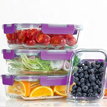 Crest [10er Set] Groß Glas Frischhaltedosen, Luftdicht, Auslaufsichere, BPA-Frei, Purpur - 2